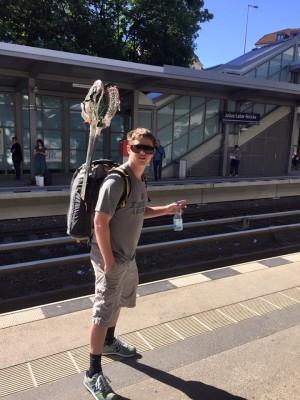 Dan Balok repping HSU at Julius-Leber-Brücke station in Berlin.